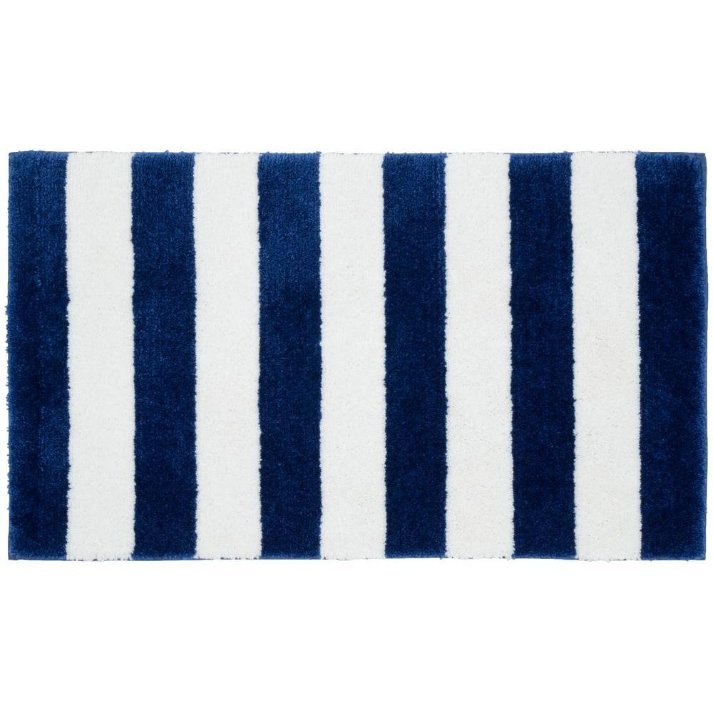 Beach Stripe Indigo Blue/White 21 in. x 34 in. Bath Rug