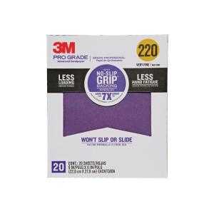Pro Grade 9 in. x 11 in. 220 Grit Very Fine No-Slip Grip Advanced Sandpaper (20-Pack)