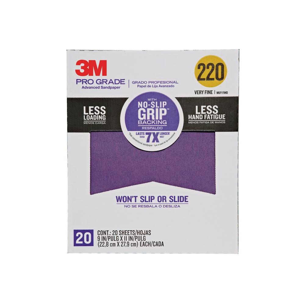 3M Pro Grade 9 in. x 11 in. 220 Grit Very Fine No-Slip Grip Advanced Sandpaper (20-Pack)