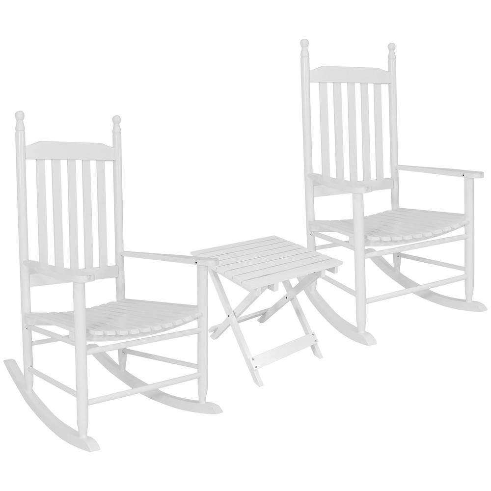 Sunnydaze Decor White Wooden Patio Rocking Chairs with Side Table (Set of 2)