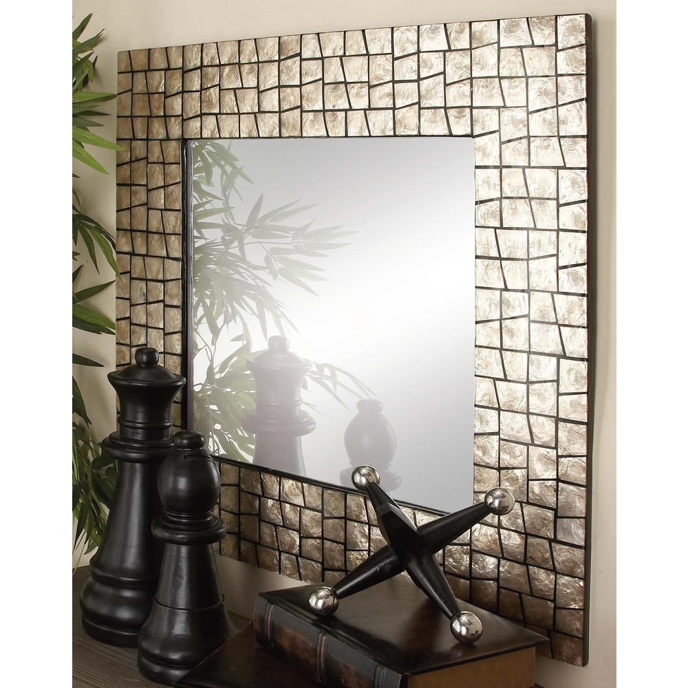 Antique chic aged white and gold decorative framed wall for White framed decorative mirror
