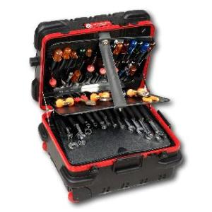 18 in. Red Line Mechanical Hinged Military-Style Wheeled Tool Case in Black