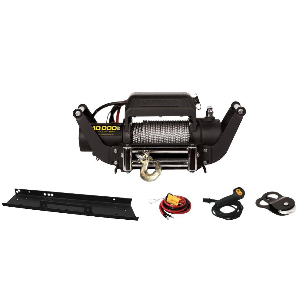 CHAMPION POWER EQUIPMENT 10,000 lbs. Truck/Jeep Winch Kit with Speed Mount Hitch Adapter
