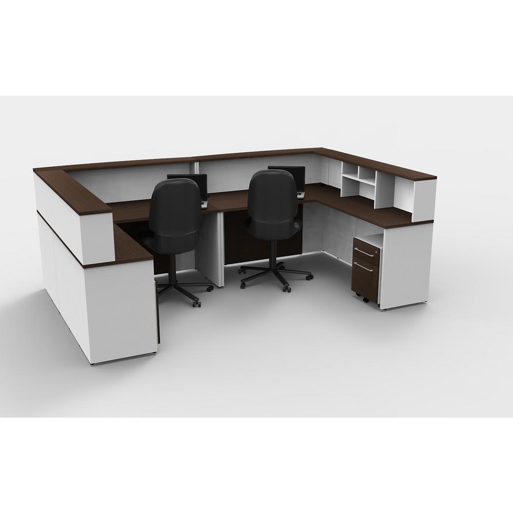 Incroyable OfisLITE 10 Piece White/Espresso Office Reception Desk Collaboration Center