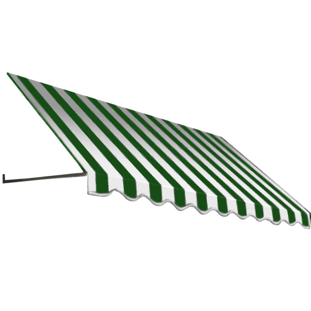 AWNTECH 4 ft. Dallas Retro Window/Entry Awning (44 in. H x 24 in. D) in Forest / White Stripe