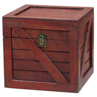 Wooden Stackable Treasure Chest Cargo Crate Style, Cherry