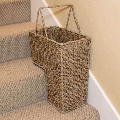 15 in. Wicker Storage Stair Basket with Handles