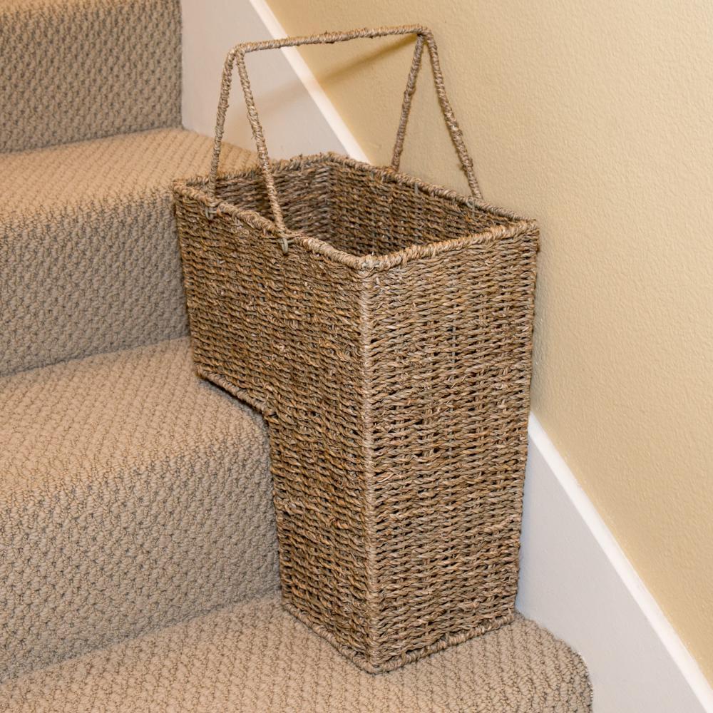 Woven Basket Building : Trademark innovations in wicker storage stair basket