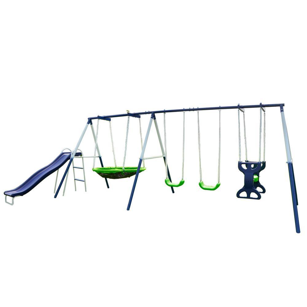 Sportspower Rosemead Metal Swing And Slide Set Msc 3782 Bm The