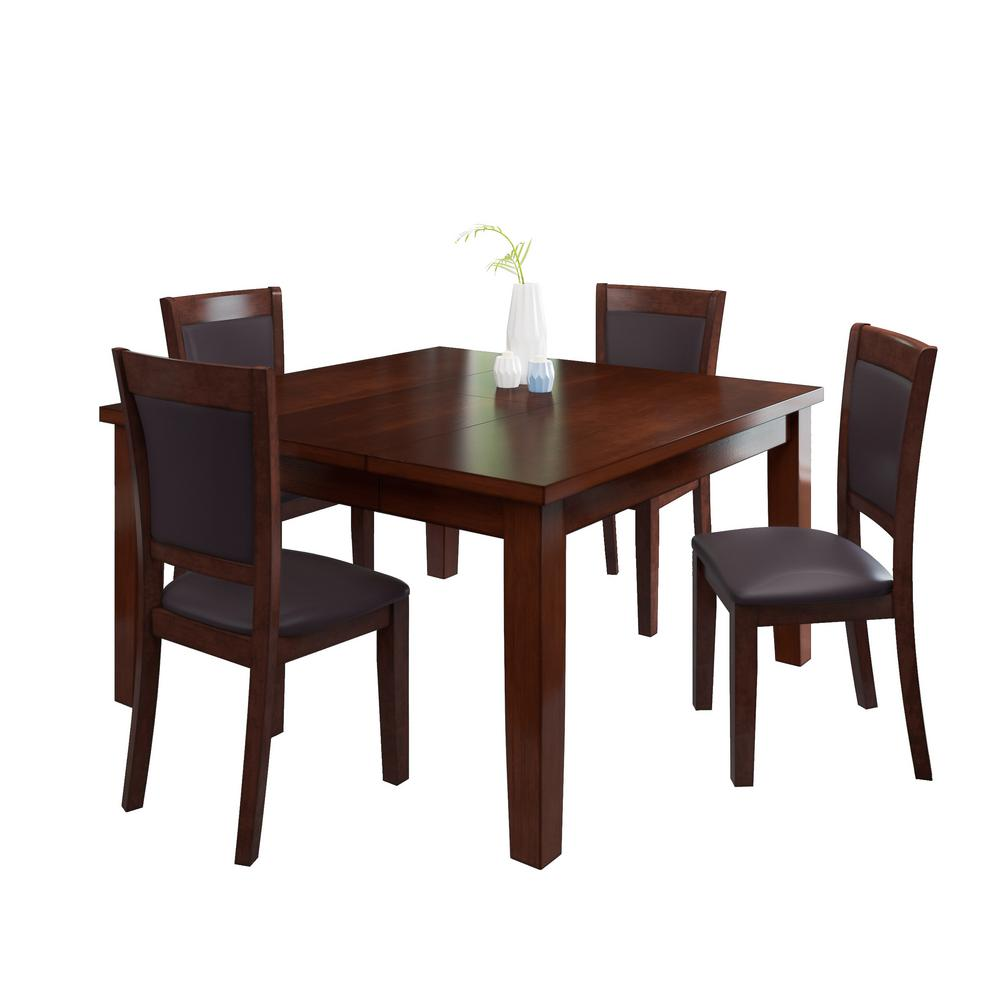 5-Piece Warm Brown Wood Extendable Dining Set with Chocol...