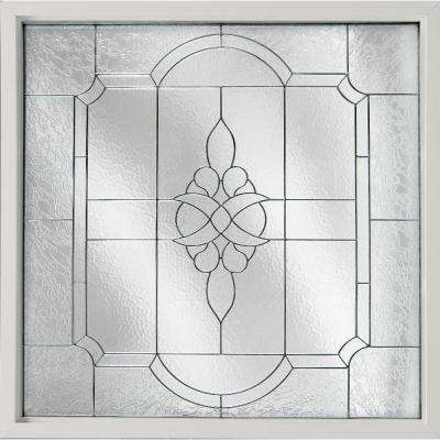 25 in. x 25 in. Decorative Glass Fixed Vinyl Window Victorian Glass, Black Caming in White