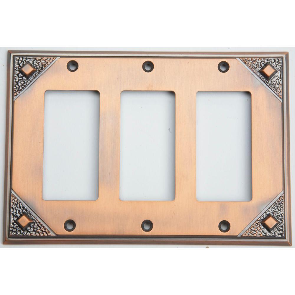Atlas Homewares Craftsman 3 Rocker Metal Wall Plate - Copper