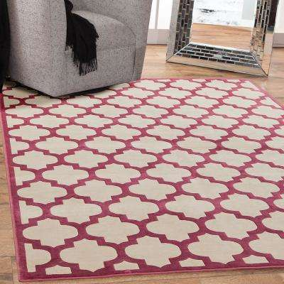 Sonoma Trellis Cranberry 5 ft. 3 in. x 7 ft. 6 in. Area Rug