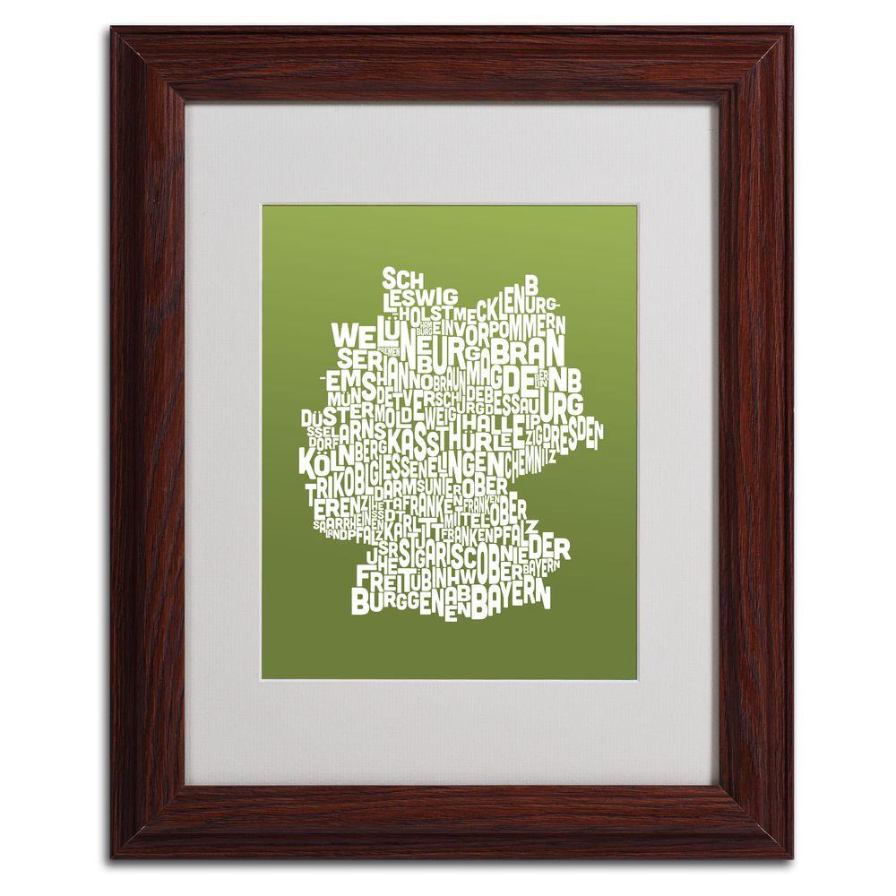 11 in. x 14 in. Germany Regions Map - Olive Matted