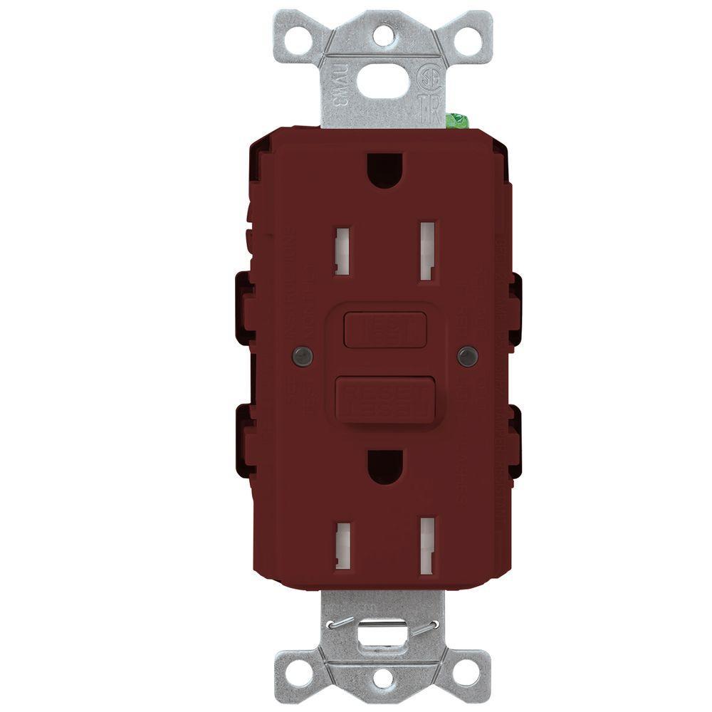 Satin Colors 15-Amp Tamper-Resistant GFCI Duplex Receptacle - Merlot