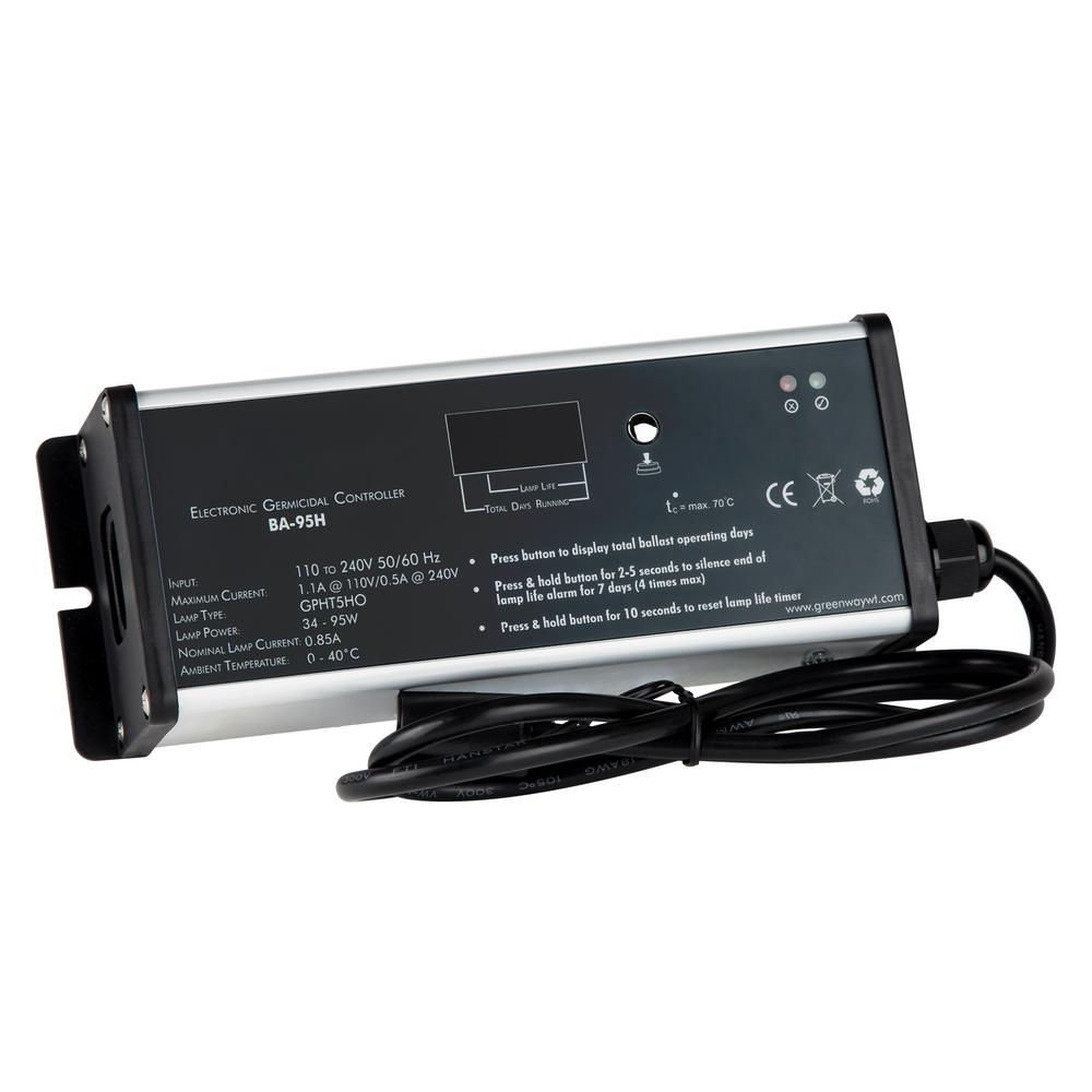 Vitapur High Output Ballast for Ultraviolet Water Disinfection Systems The BA-95H High output is a unique electronic controller that has universal AC input, provides constant lamp current and lower power consumption. It monitors the UV system with a 7 segment LED countdown display, system visual/audible lamp failure and replacement alarms. Easy to install.