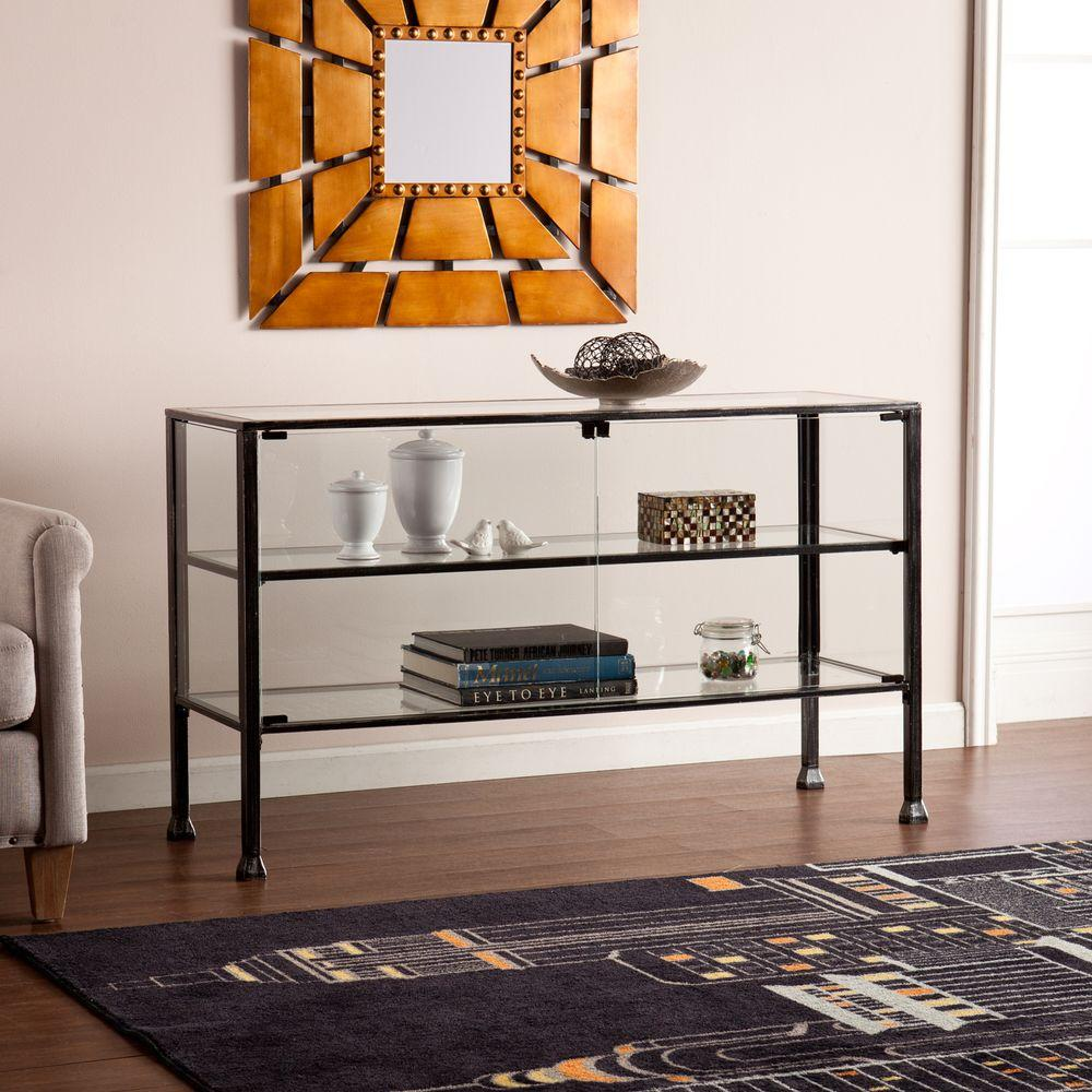 Glass console table with shelf - Southern Enterprises Paxton Black Glass Display Console Table