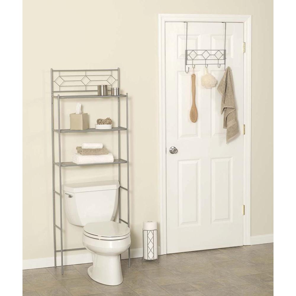 Zenna Home 3-Piece Bath Storage Set with Over the Toilet Space Saver,  Over-the-Door Rack, and Toilet Paper Holder in Satin Nickel