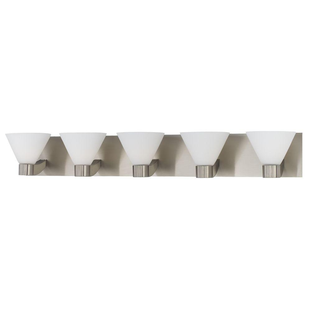 Eurofase Martini Collection 5-Light Satin Nickel Wall Bath Bar-DISCONTINUED