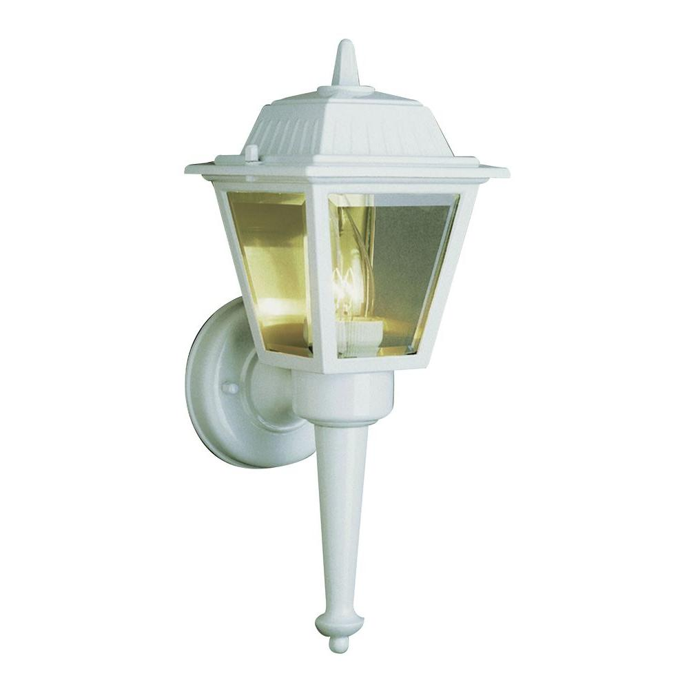 Bel Air Lighting Cabernet Collection 1-Light Outdoor White Coach Lantern with Clear Beveled Shade