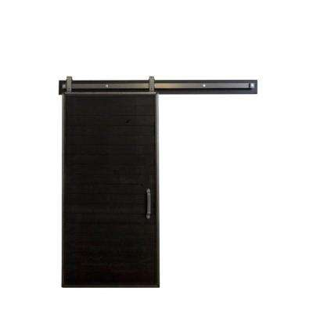 36 in. x 84 in. Mountain Modern Matte Black Wood Barn Door with Mountain Modern Sliding Door Hardware Kit