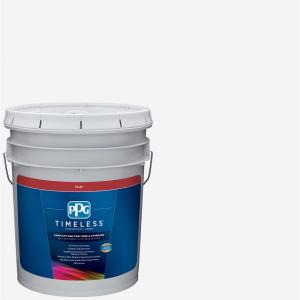 5 gal. Pure White/Base 1 Flat Exterior Paint with Primer