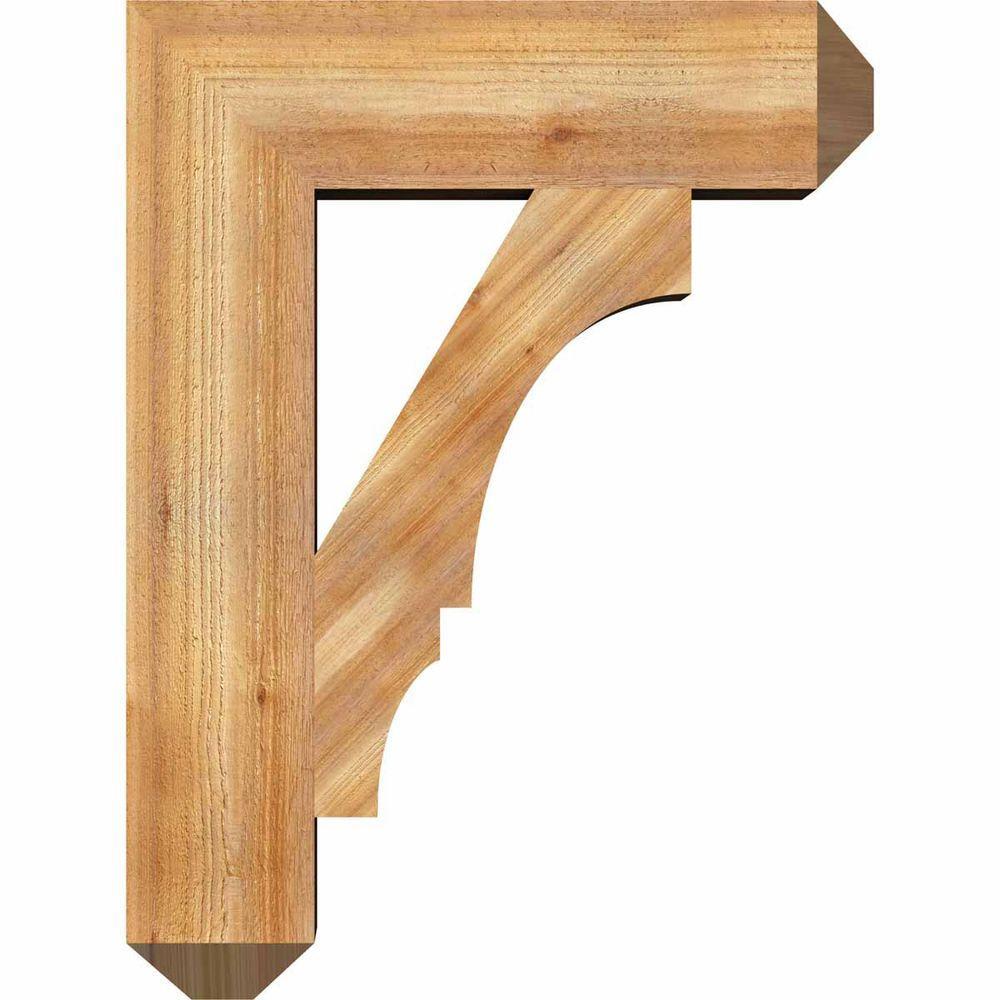 Ekena Millwork 6 In X 32 In X 24 In Western Red Cedar Balboa Craftsman Rough Sawn Bracket Bkt06x24x32boa04rwr The Home Depot