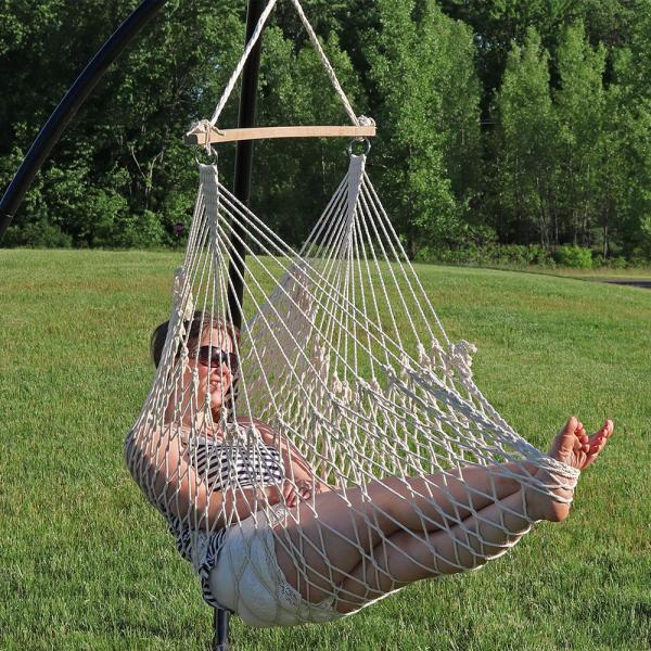 Outdoor Hammock Hanging Rope Chair Porch Swing Yard Tree Cotton Polyester