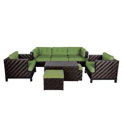 Rachel 8-Piece Wicker Patio Deep Seating Set with Spectrum-Cilantro Cushions