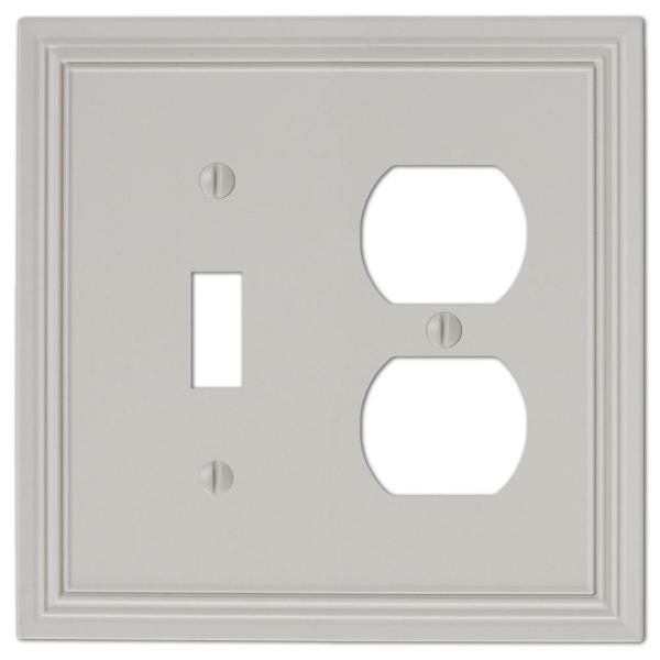 Hallcrest 2 Gang 1-Toggle and 1-Duplex Metal Wall Plate - Gray