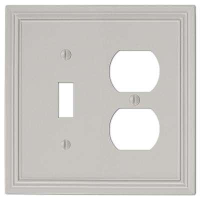 Hallcrest Cast 1-Toggle and 1-Duplex Wall Plate, Gray