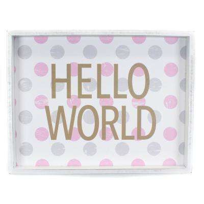 "13.37 In. W x 13.37 In. H Pink ""Hello World"" by JLB Framed Printed Wall Art"