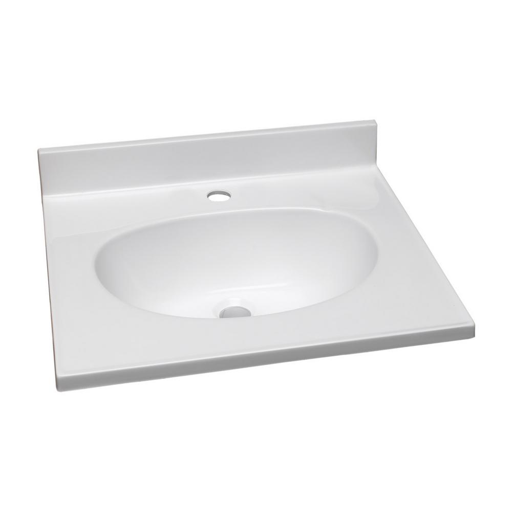 37 in. Single Faucet Hole Cultured Marble Vanity Top with White