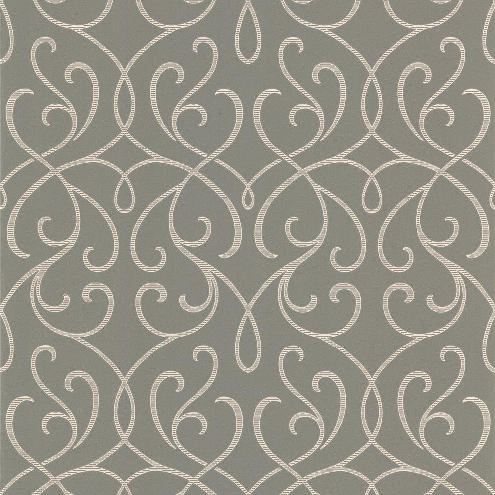null Aloutte Grey Mod Swirl Wallpaper