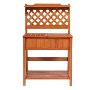 60 in. H x 37 in. W Natural Eucalyptus Wood Potting Bench