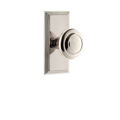 Carre Plate Dummy with Circulaire Door Knob in Polished Nickel