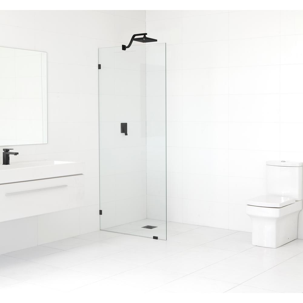Glass Warehouse 29.5 in. x 78 in. Frameless Fixed Shower Door in Matte Black without Handle