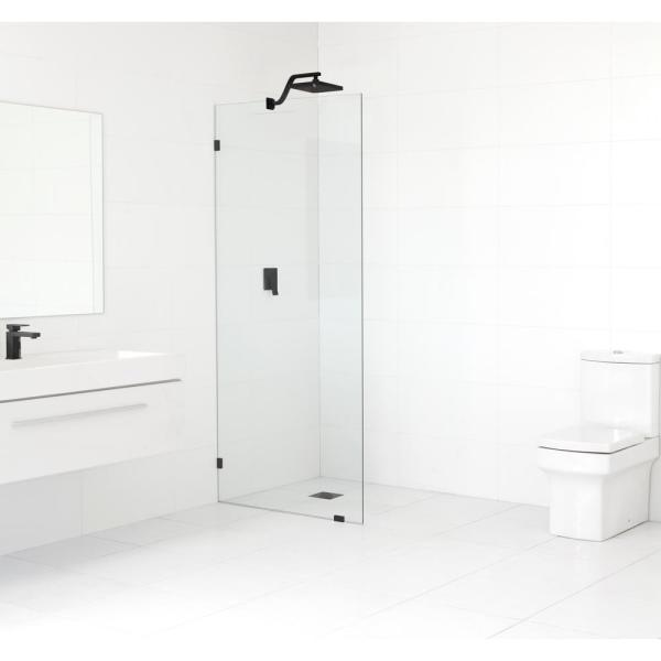 31 in. x 78 in. Frameless Fixed Shower Door in Matte Black without Handle