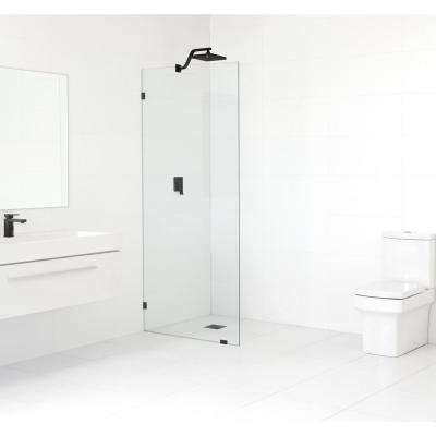 32 in. x 78 in. Frameless Fixed Shower Door in Matte Black without Handle