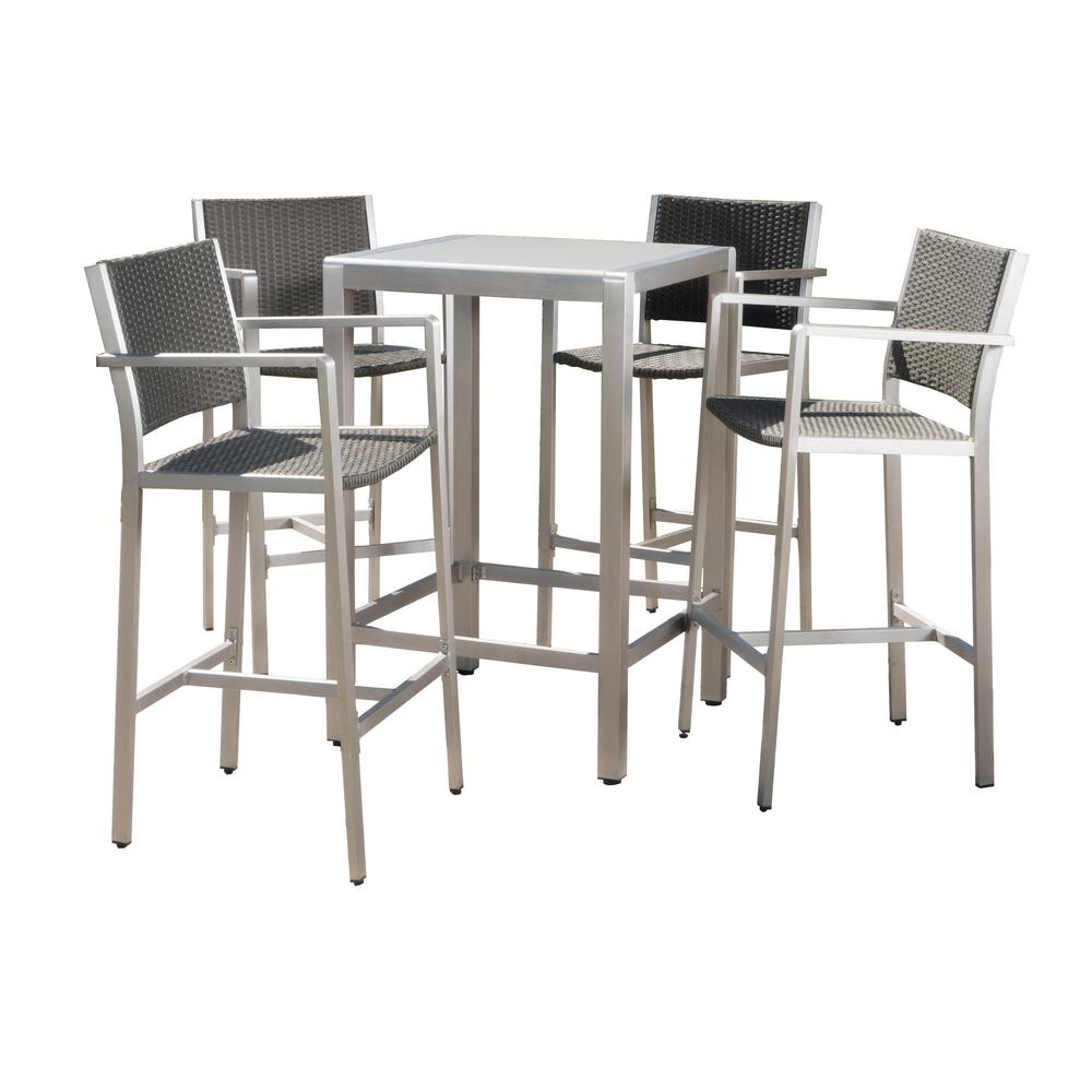 Noble House Valentina 5 Piece Wicker Outdoor Bar Height Bistro Set