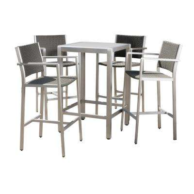 Valentina 5-Piece Wicker Outdoor Bar Height Bistro Set