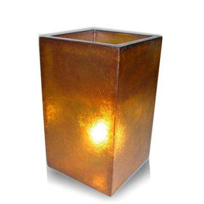 Labota 24 in. Orange Square Lighted Planter Lamp
