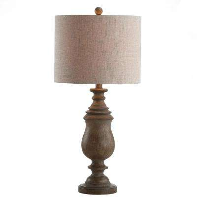 Abeline 28.5 in. Resin LED Table Lamp, Brown Faux Wood