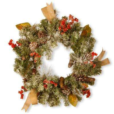 24 in. Snowy Christmas Artificial Wreath