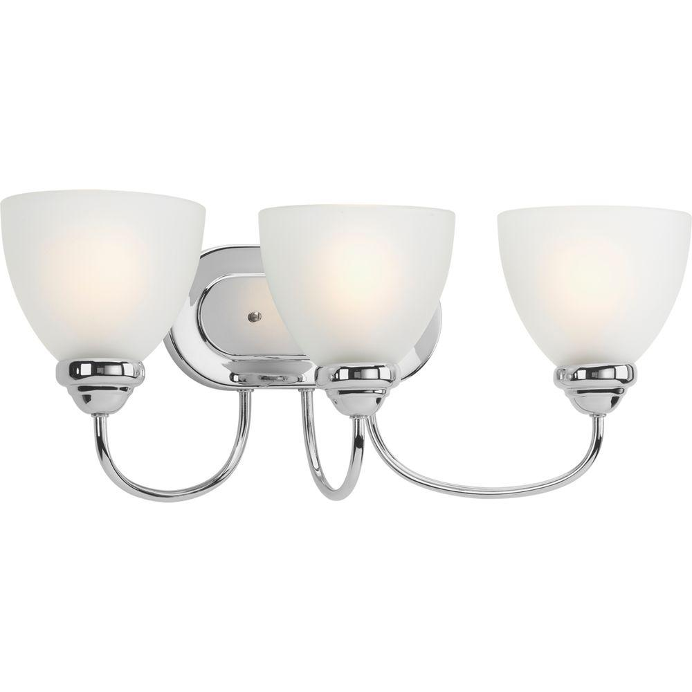 Progress Lighting Heart Collection 3-Light Polished Chrome Vanity Light with Etched Glass Shades