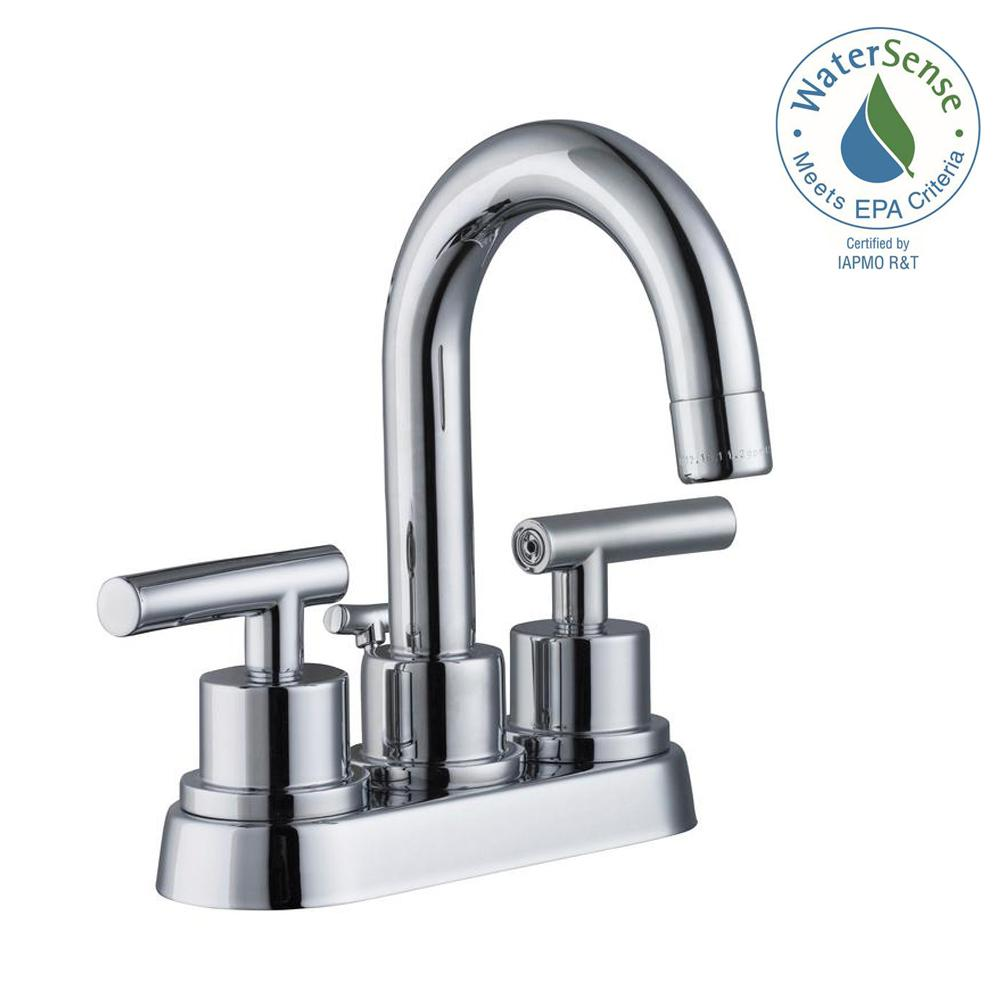 Glacier Bay Dorset 4 In Centerset 2 Handle Bathroom Faucet In Chrome 67730w 6101 The Home Depot