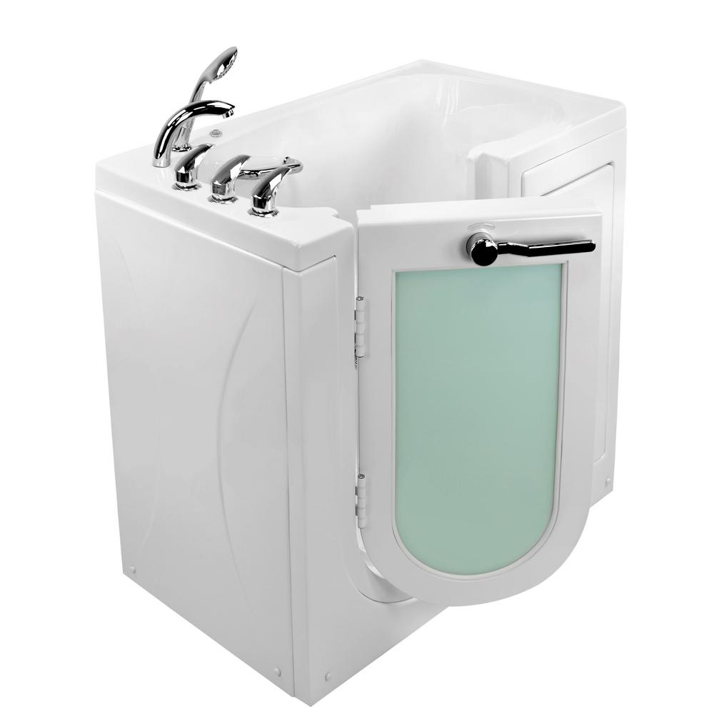 Ella Mobile 45 in. Walk-In MicroBubble Air Bath Bathtub in White with Left Outward Swing Door, Faucet, LHS 2 in. Dual Drain