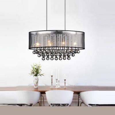 Radiant 6-Light Chrome Chandelier with Black Shade