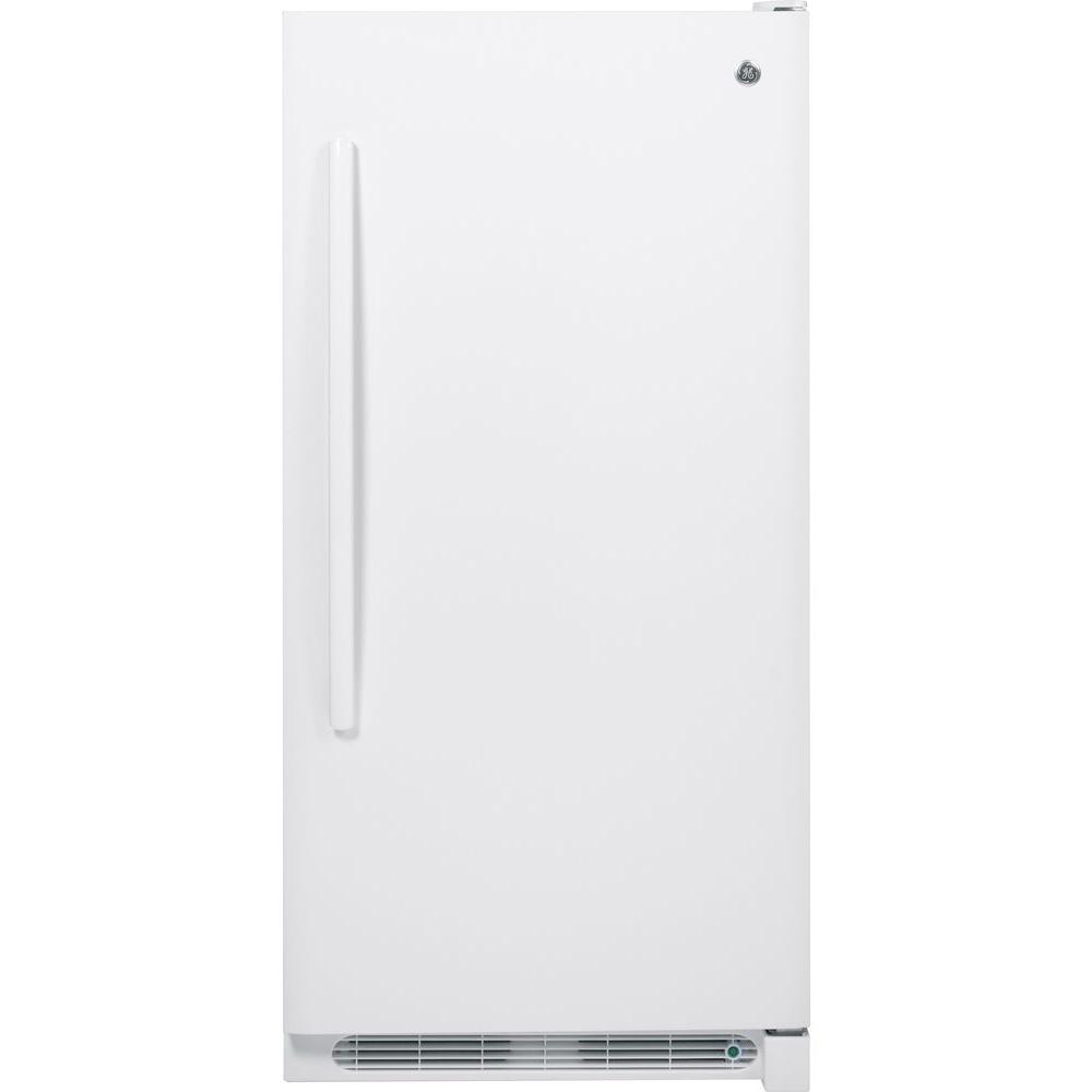 GE 13.8 cu. ft. Frost Free Upright Freezer in White