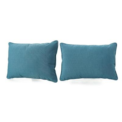 Amaris Teal Lumbar Outdoor Throw Pillow (2-Pack)
